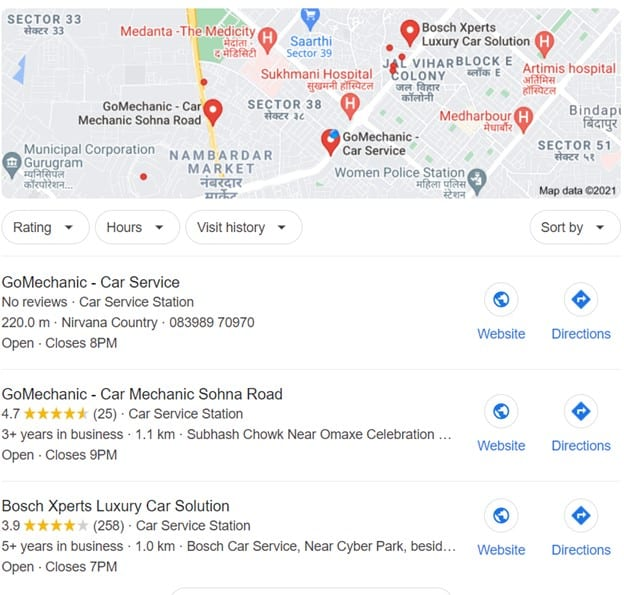 a map pack that appears of Google for websites having Google My Business (GMB) account; local seo